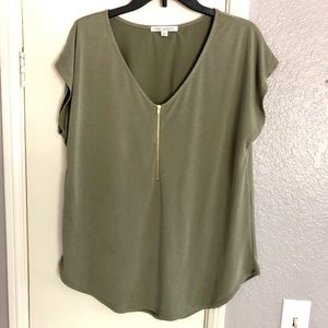 NEW Green Envelope olive green blouse Size Large